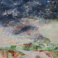 Storm_Over_Todi_2_encaustic_Wood_Panel_20x20x2_inches_copyright_Cheryl_D_McClure