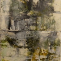 Annotation,Graphite-Green-gold-encaustic-wood-panel-diptych-24x12x2inches-copyright-cheryldmcclure