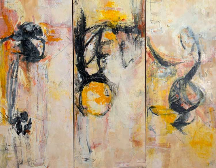 Allegro triptych oil on three wood panels