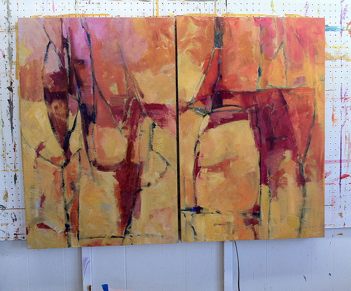 Interstices Diptych In Progress