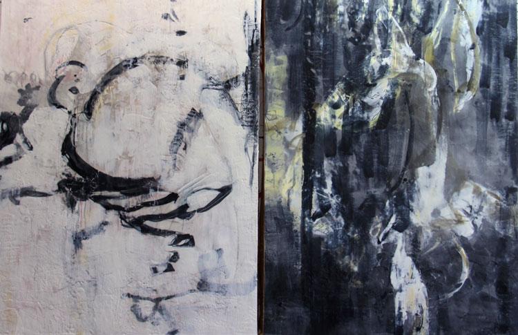 Reverie & Dark Reverie both 40 x 30 x 2 inch encaustic on wood panels