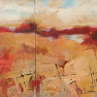 red_thread_diptych_acrylic_2canvases_40x70_copyright_cheryl_d_mcclure