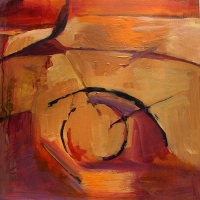 Orange_Maroon_1_acrylic_panel_12x12_copyright_Cheryl_D_McClurejpg