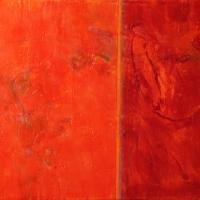 Annotation-Orange-Crimson-encaustic-wood-panel-18x24x2inches-copyright-cheryl-d-mcclure