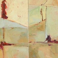 Facade_8_9_diptych_acrylic_2canvases_30x60_copyright_Cheryl_D_McClure