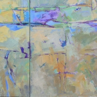 johnson_creek_blue-green-violet-diptych_acrylic_canvas_36x60_inches_copyright_cheryl_d_mcclure