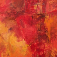 September-1-Red-Orange-oil-paper-22x22-copyright-cheryl-d-mcclure.jpg