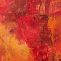 September-1-Red-Orange-oil-paper-22x22-copyright-cheryl-d-mcclure.jpg
