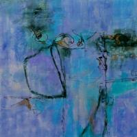 Annotation-Cobalt-blue-Violet-24x24x2inches-encaustic-oil-copyright-cheryl-d-mcclure