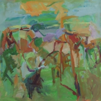 Walking-the-Farm-30x30-oil-panel-copyright-cheryl-d-mcclure