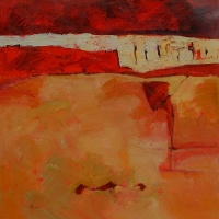 Pieces_of_Red_6_acrylic_canvas_30x30_copyright_Cheryl_D_McClure